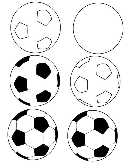 Раскраска как нарисовать футбольный мяч поэтапно. Скачать Как нарисовать.  Распечатать Как нарисовать