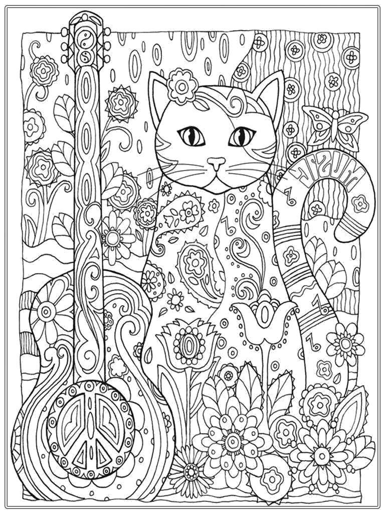 Раскраска Антистресс кошка. Скачать кошка.  Распечатать Домашние животные