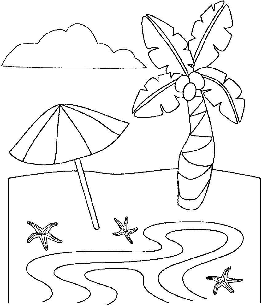 Раскраска пальма, зонт, морская звезда, речка, облако. Скачать Лето.  Распечатать Лето