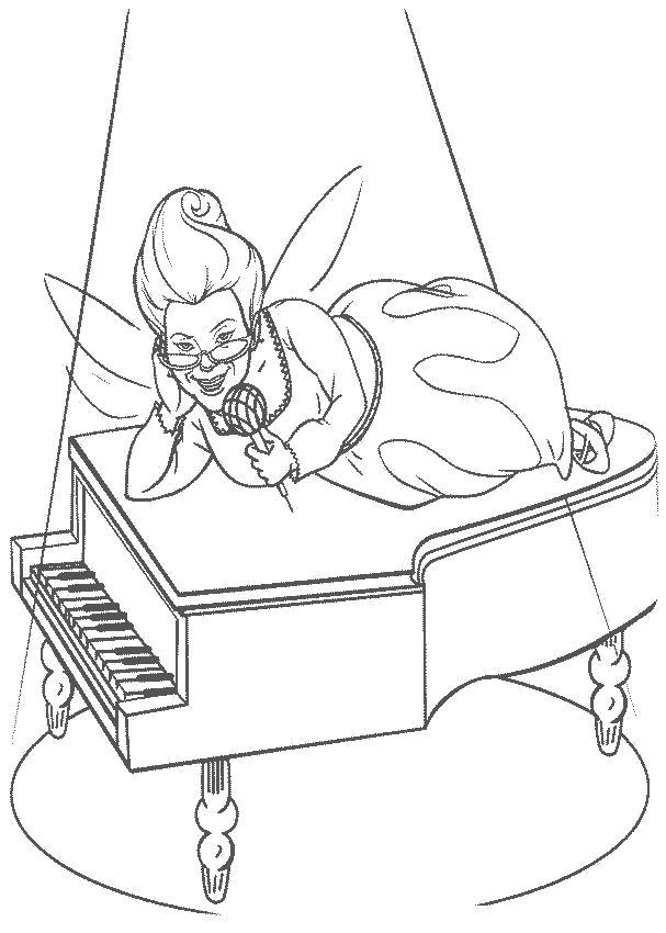 Раскраска крестная мама поет, крестная фея лежит на пианино. . Скачать шрек.  Распечатать шрек