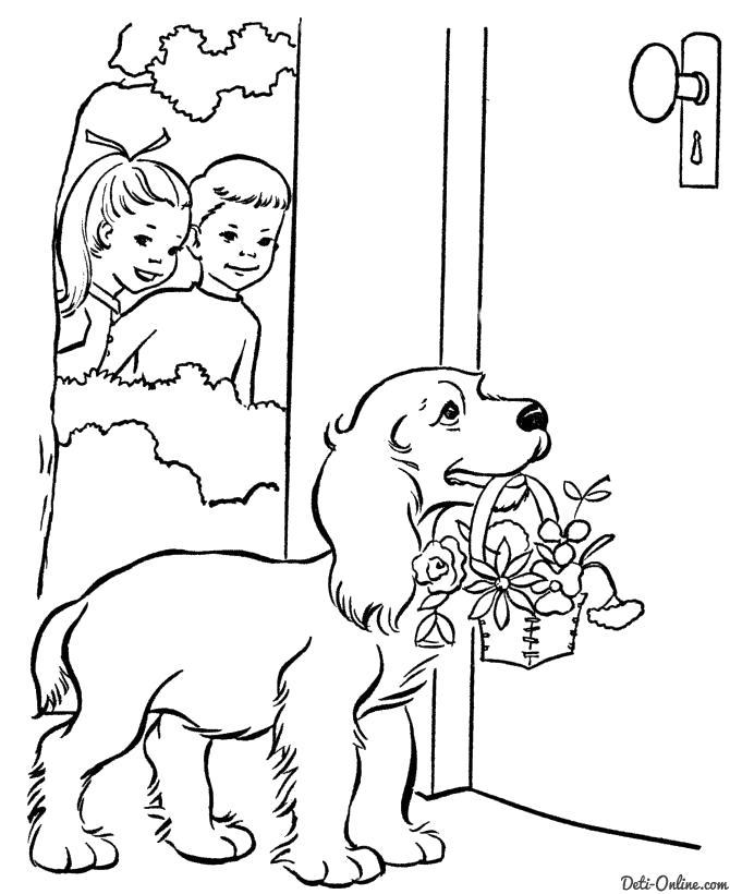 Раскраска  Собака принесла подарок. Скачать Собака.  Распечатать Домашние животные