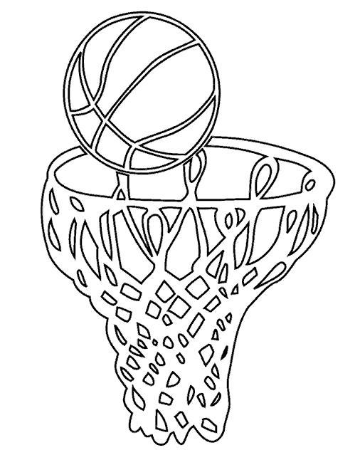 Раскраска корзина и мяч. Скачать Баскетбол.  Распечатать Баскетбол