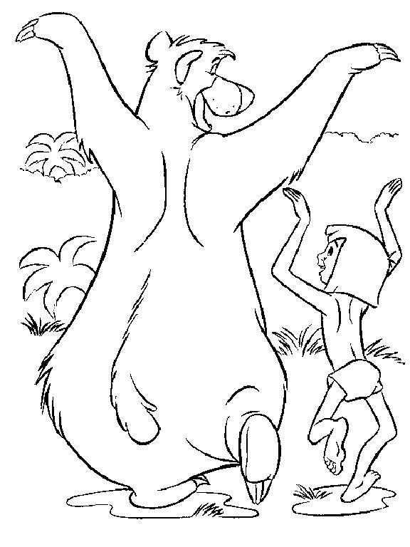 Раскраска Маугли и Балу танцуют. Скачать Танцуют.  Распечатать Танцуют
