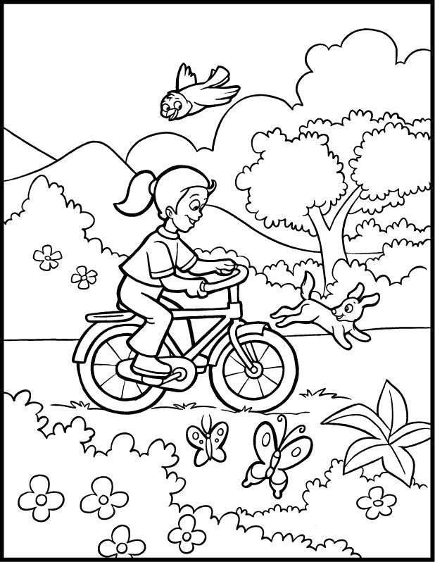 Раскраска  Весенняя прогулка на велосипеде. Скачать Велосипед.  Распечатать Велосипед