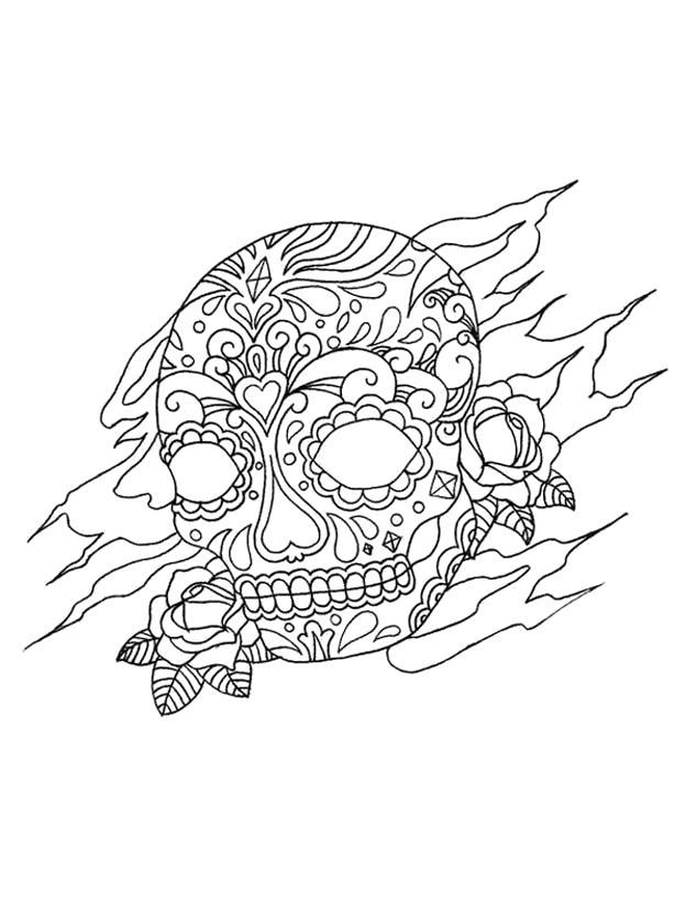 Раскраска  Арт Терапия Антистресс. череп. Скачать узоры.  Распечатать антистресс