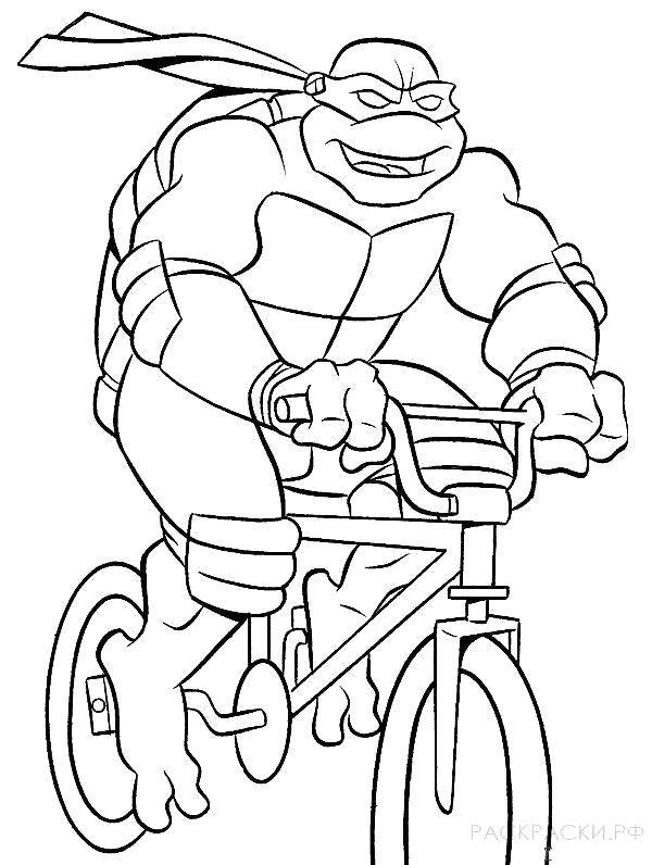 Раскраска  Черепашка-Ниндзя на велосипеде. Скачать .  Распечатать