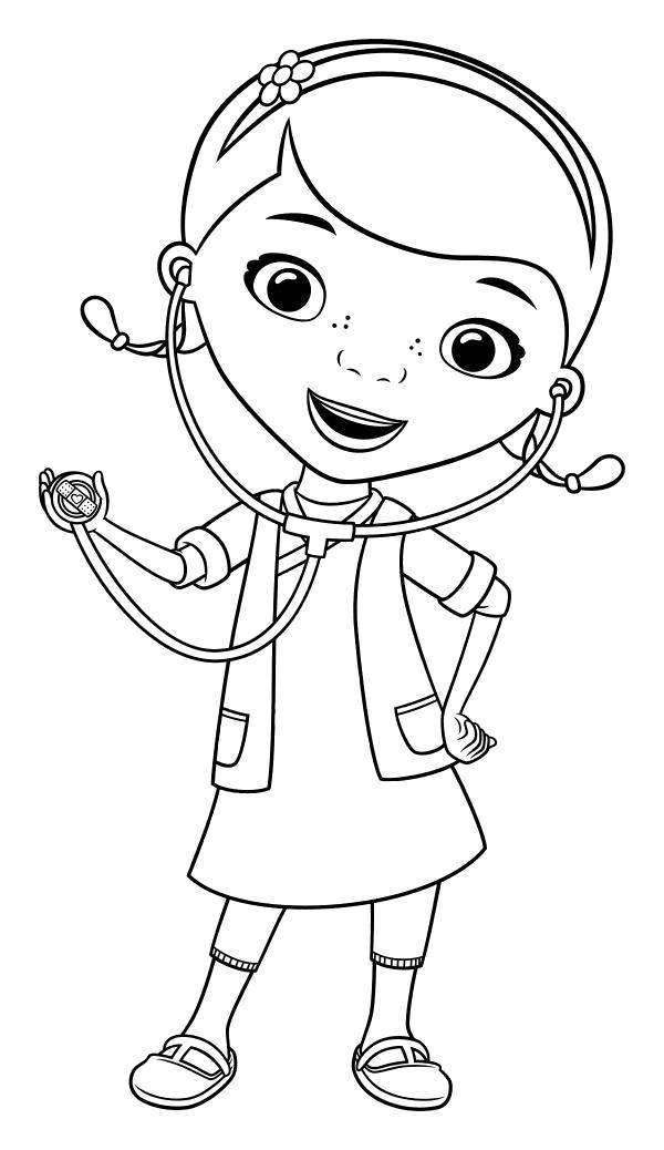Раскраска  Дотти использует стетоскоп. Скачать Доктор.  Распечатать Доктор