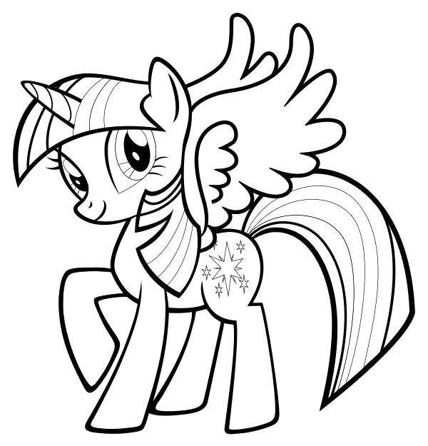 Раскраска  Сумеречная Искорка с крыльями. Скачать Искорка.  Распечатать Дружба это чудо