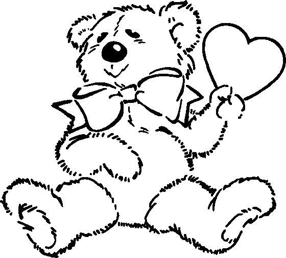 Раскраска  медвежонок с сердечком. Скачать животных.  Распечатать животных