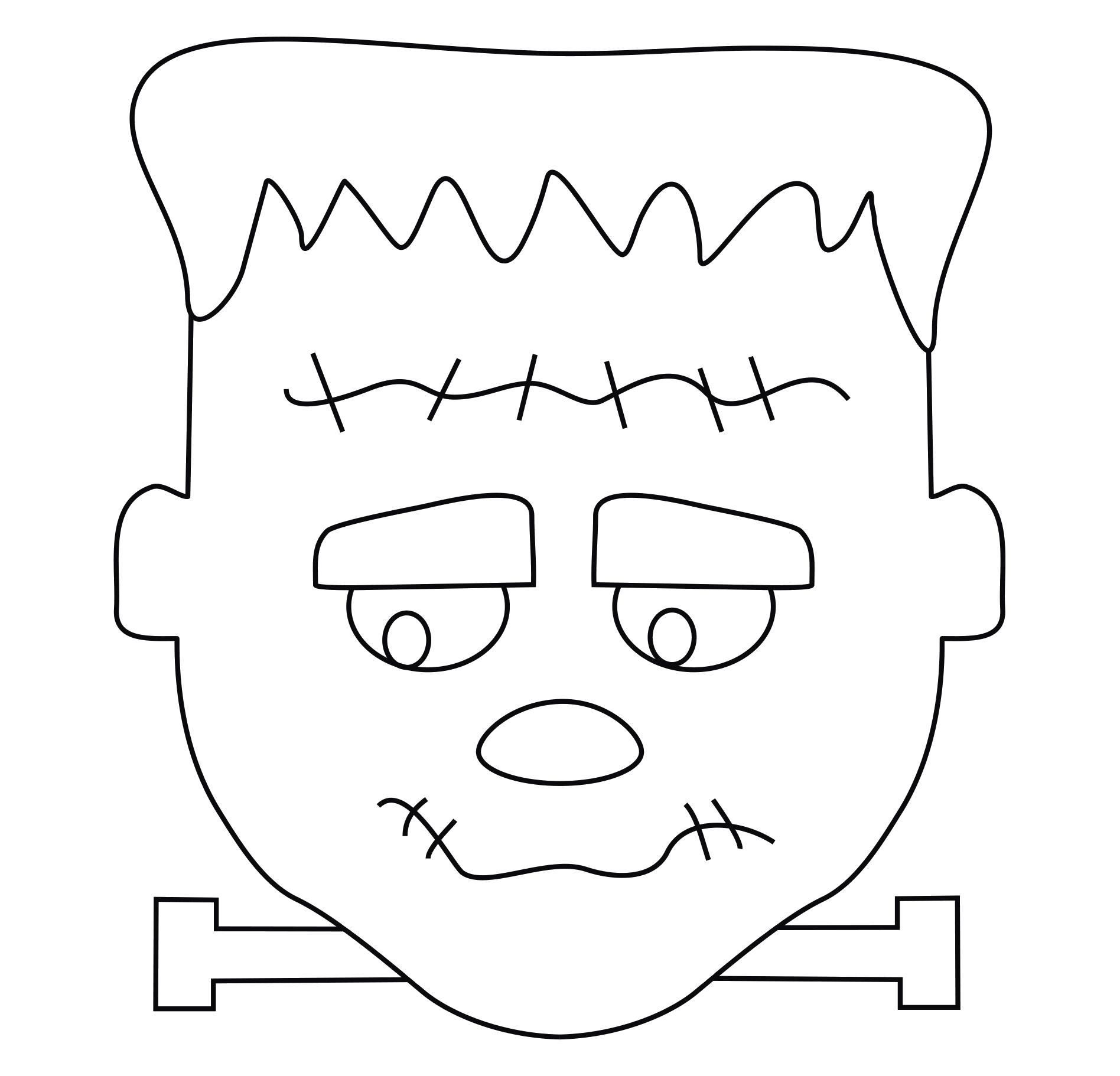 Раскраска Франкенштейн. Скачать ужасы, чудовище.  Распечатать Хэллоуин