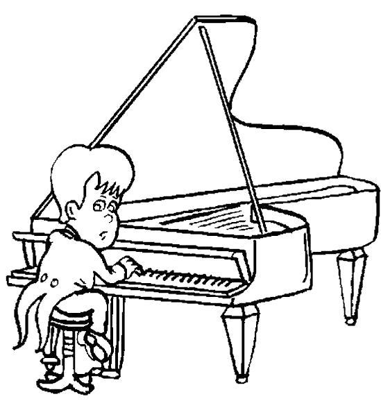 Раскраска Юный пианист. Скачать Пианино.  Распечатать Пианино
