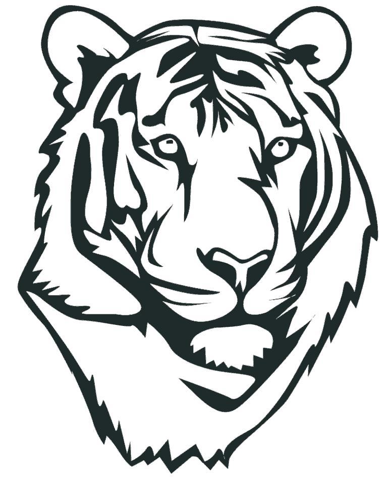 Раскраска Морда тигра. Скачать Тигр.  Распечатать Дикие животные