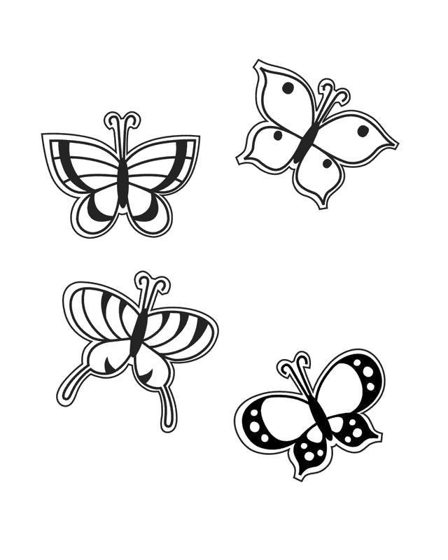 Раскраска четыре бабочки. Скачать Бабочки.  Распечатать Бабочки