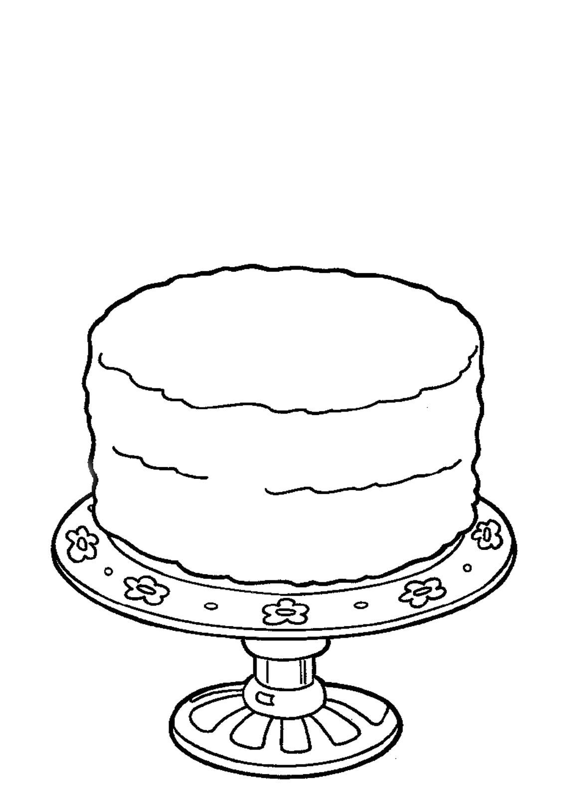 Раскраска  торт. Скачать торт.  Распечатать еда