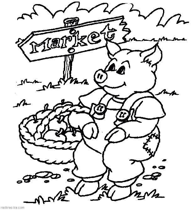 Раскраска Свинья идет на рынок. Скачать Свинья.  Распечатать Домашние животные