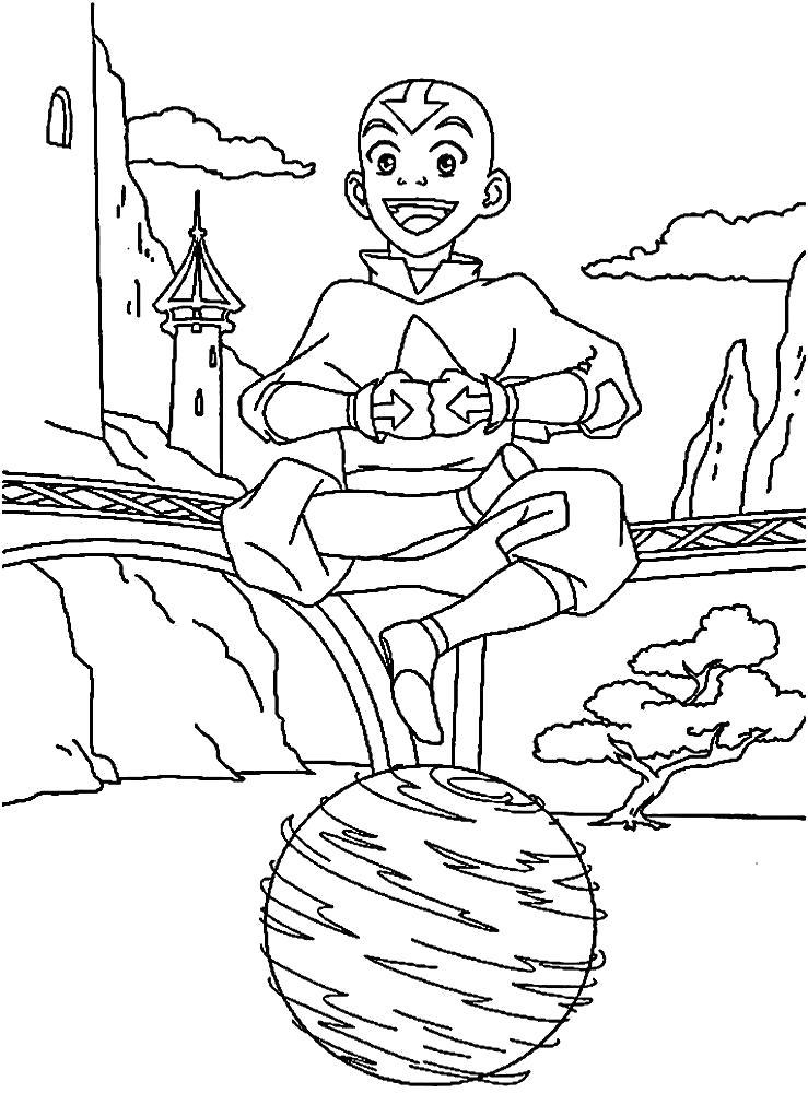 Раскраска Аанг- маг воздуха. Скачать Аватар.  Распечатать Аватар