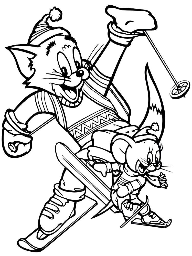 Раскраска Веселые картинки и разукрашки Том и Джерри для детишек, Том и Джери зимой на лыжах. Скачать .  Распечатать