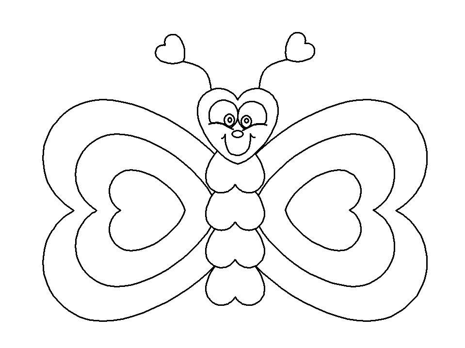 Раскраска сердечки на крыльях бабочки. Скачать Бабочки.  Распечатать Бабочки