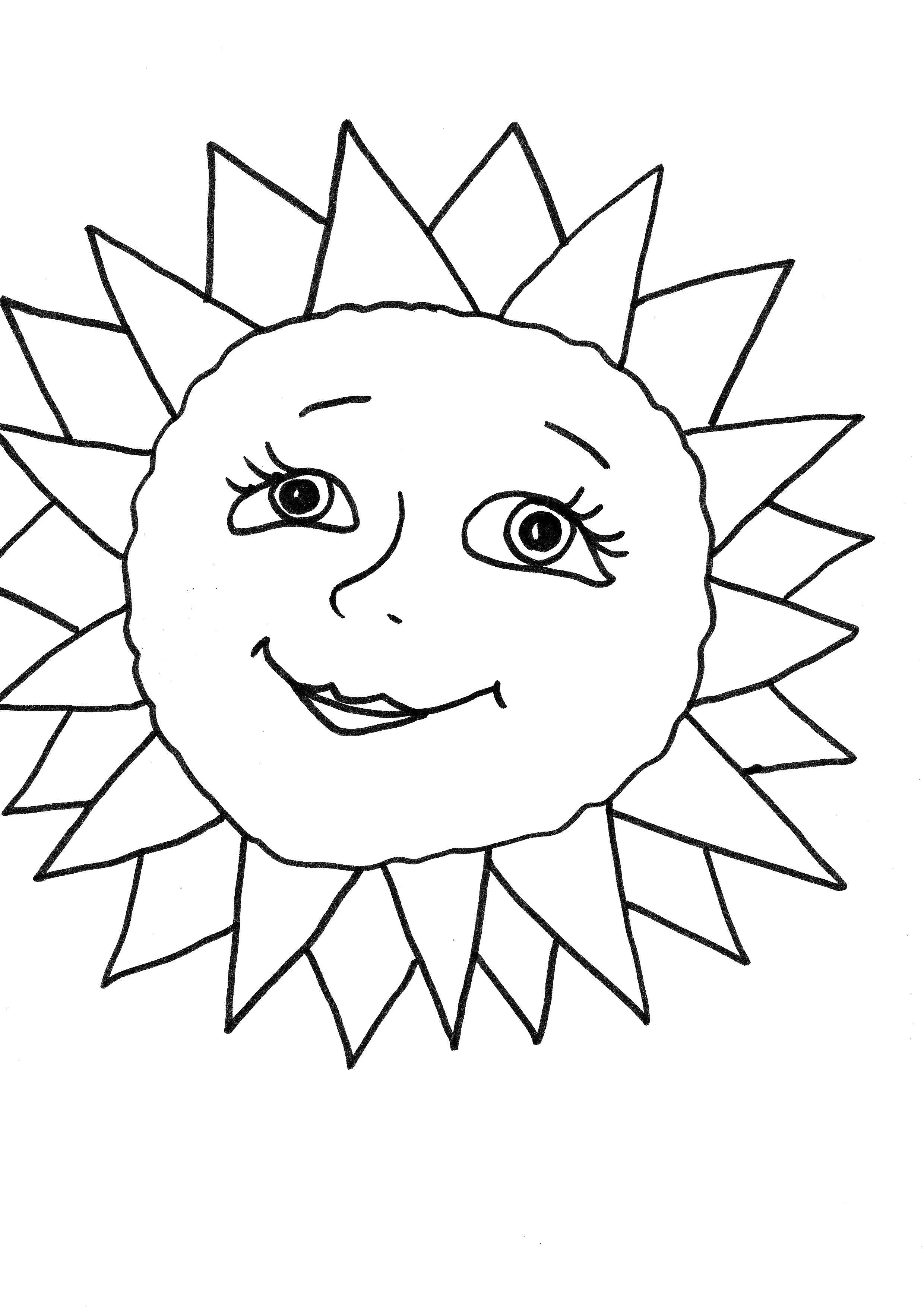 Раскраска Красивое солнышко. Скачать Солнышко.  Распечатать Солнышко