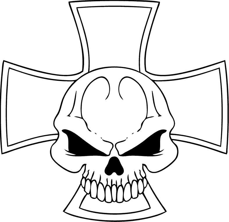 Название: Раскраска Череп и крест. Категория: Череп. Теги: Череп.