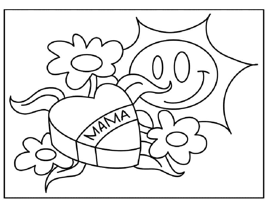 Раскраска  ко Дню Матери, солнышко, сердечко, цветочки. Скачать ко дню матери.  Распечатать ко дню матери