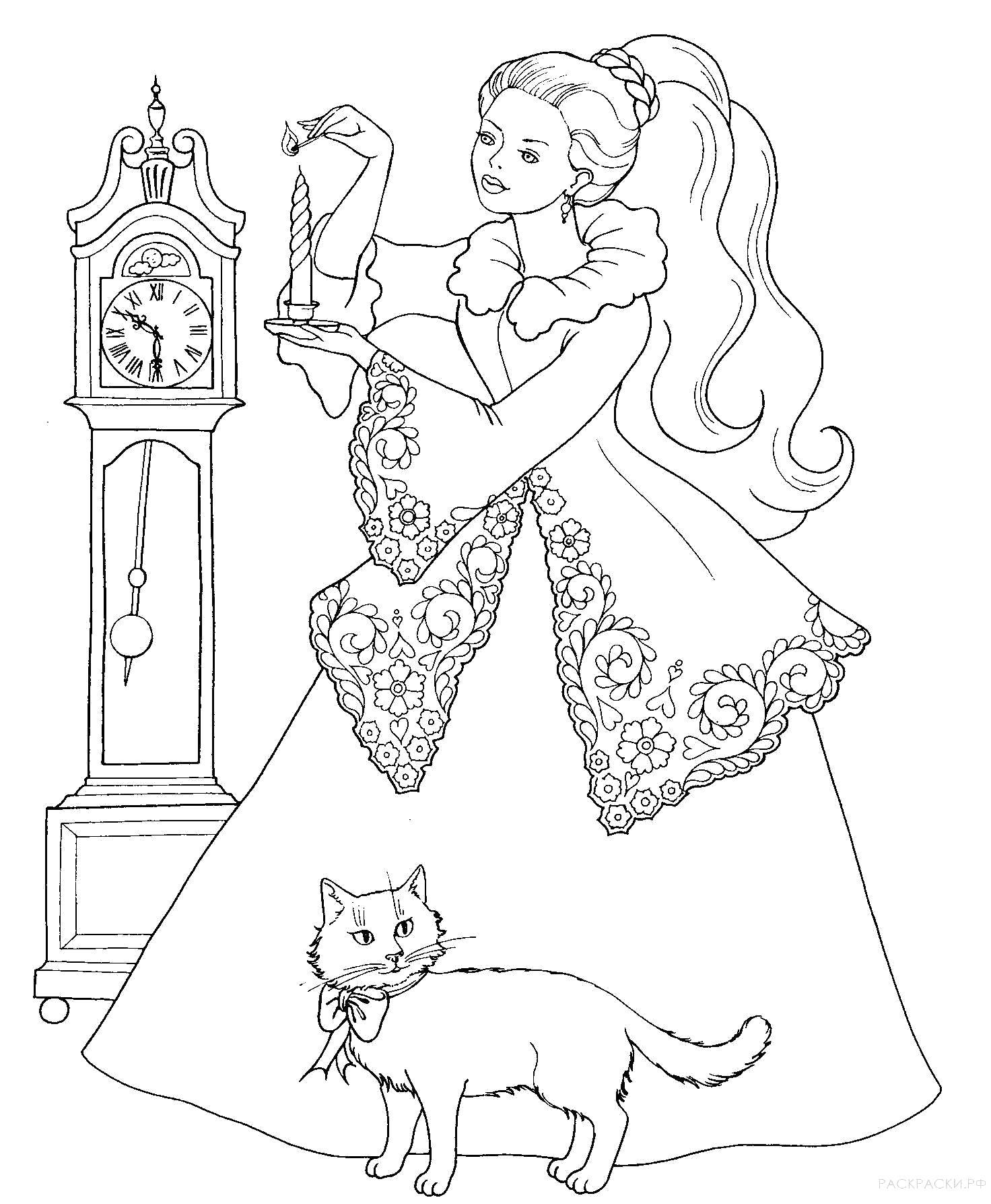 Раскраска  для девочек Девушка с котом и часы. Скачать Часы.  Распечатать Часы