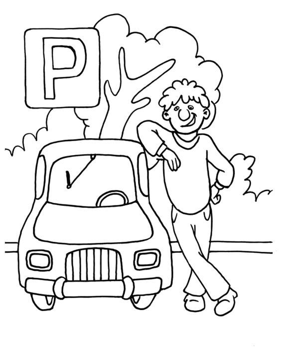 Раскраска Стоянка. Скачать Правила дорожного движения.  Распечатать Правила дорожного движения