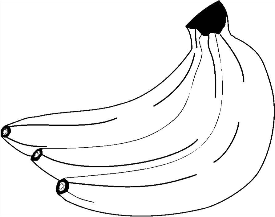 Раскраска  банан. Скачать продукты.  Распечатать продукты
