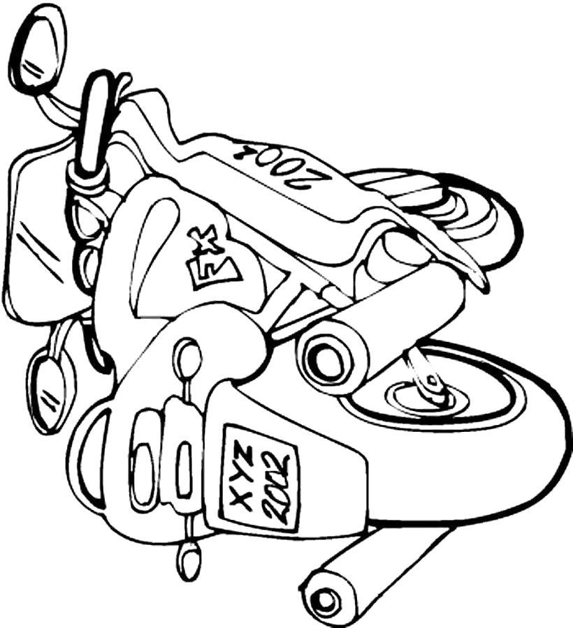 Раскраска Мотоцикл мотоцикл с номером. Скачать Мотоцикл.  Распечатать Мотоцикл