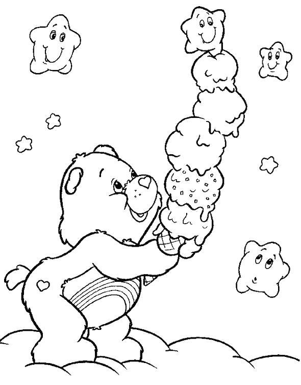 Раскраска Гамми и мороженое. Скачать Мишка.  Распечатать Мишка