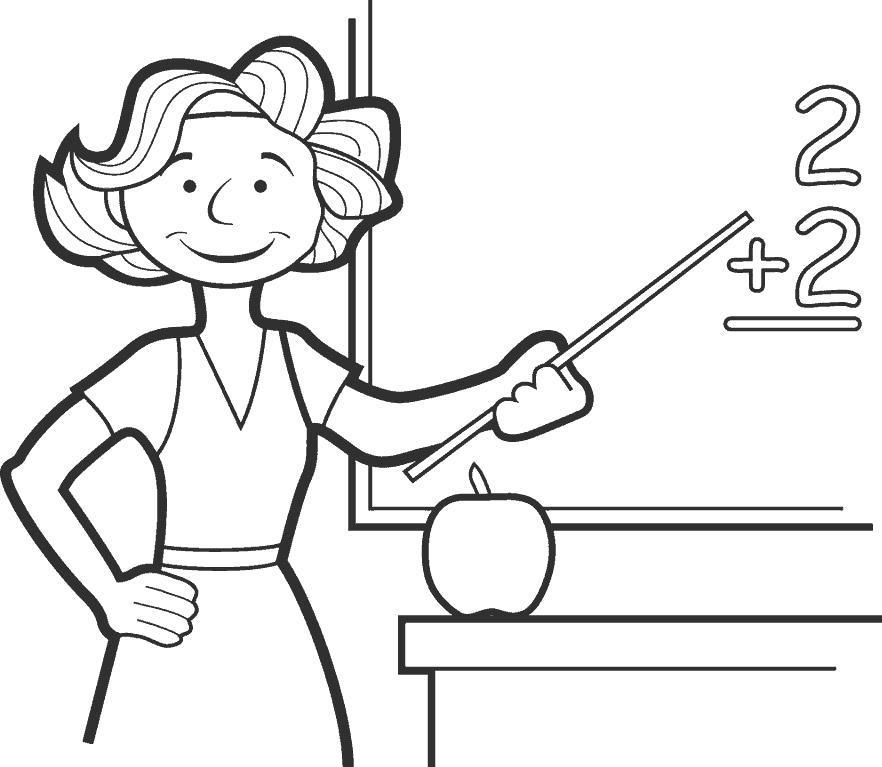 Раскраска  открытки на день учителя, математика. Скачать День учителя.  Распечатать День учителя