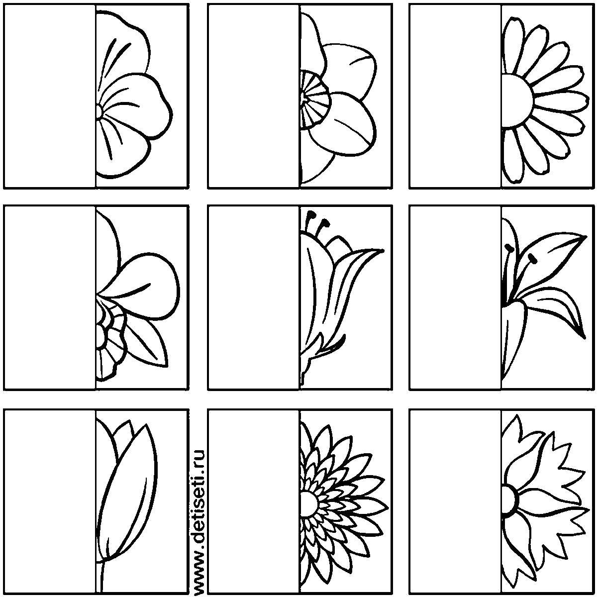 Раскраска  клеточкам дорисуй цветы по образцу. Скачать дорисуй.  Распечатать Дорисуй по образцу