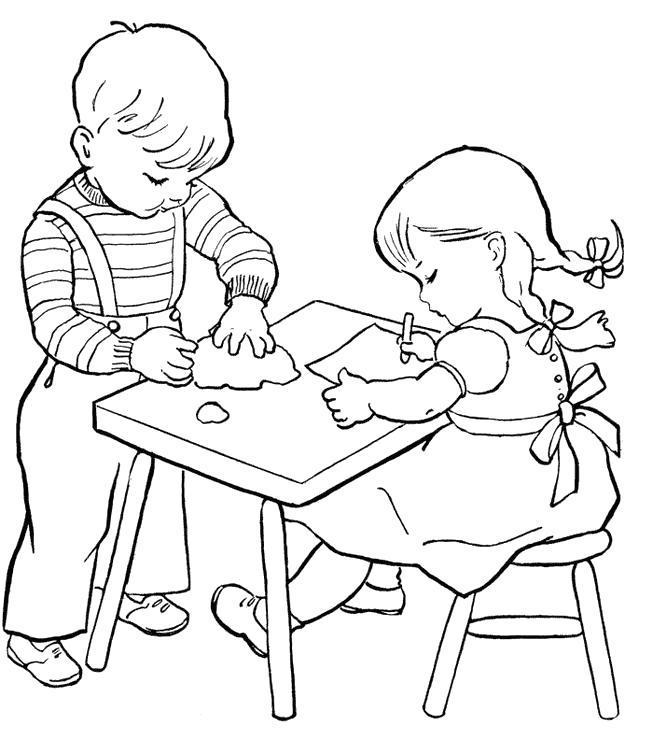 Раскраска девочка сидит за школьной партой, мальчик собирает листочек. Скачать .  Распечатать