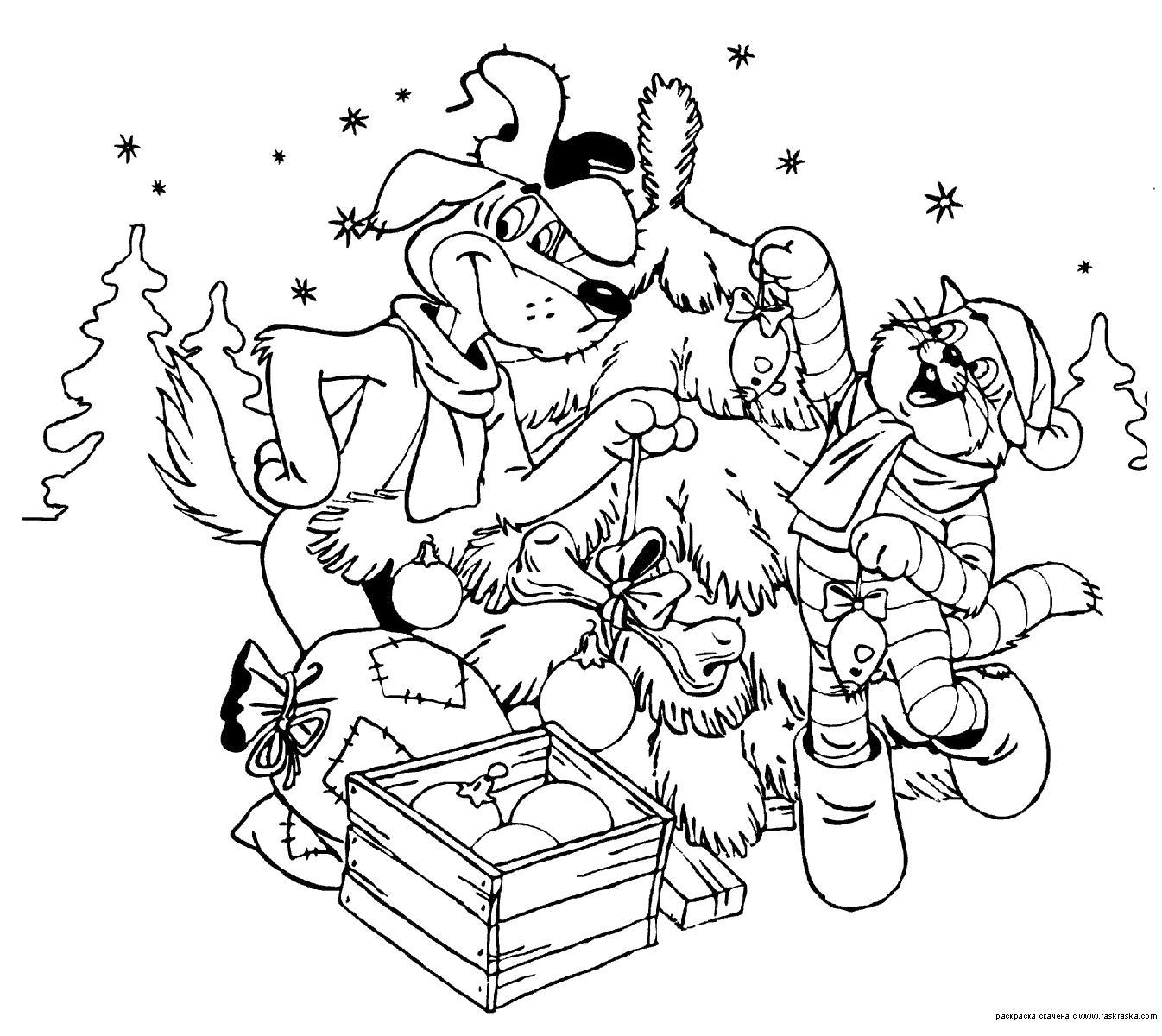 Раскраска Кот Матроскин и Собака Шарик наряжают Елку. Скачать Простоквашино.  Распечатать Простоквашино