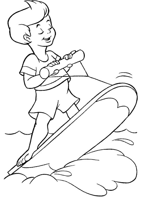 Раскраска мальчик катается на доске, . Скачать Лето.  Распечатать Лето