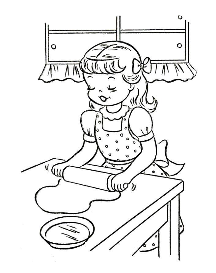 Раскраска Девочка раскатывает тесто. Скачать .  Распечатать