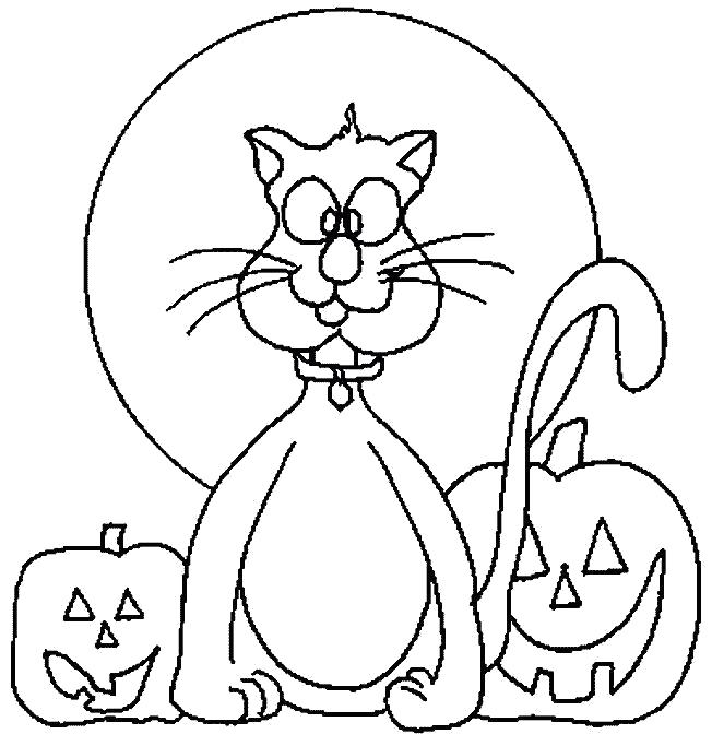 Раскраска Кот на Хэллоуин. Скачать Хэллоуин.  Распечатать Хэллоуин