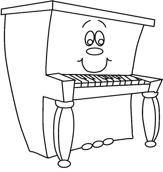 Раскраска Веселое пианино. Скачать Пианино.  Распечатать Пианино