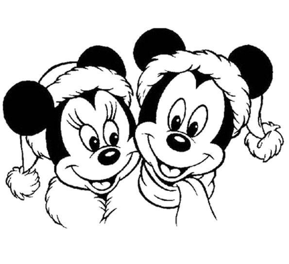 Раскраска Микки и Мини Маус в новый год. Скачать Микки маус.  Распечатать Микки маус