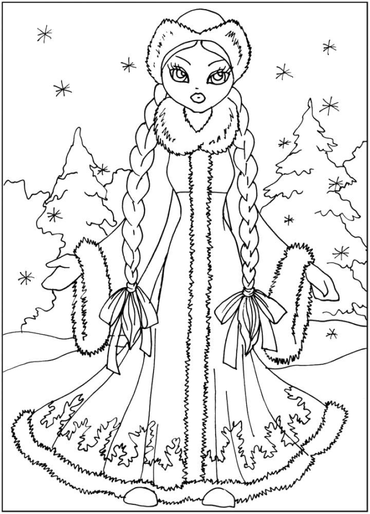 Раскраска Снегурочка красавица в лесу. Скачать Снегурочка.  Распечатать Новый год