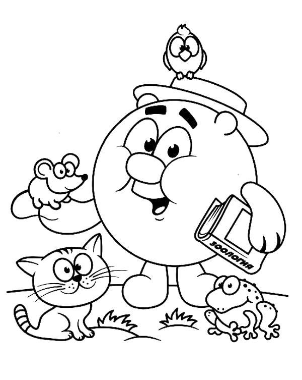Раскраска Копатыч и его друзья животные.. Скачать Копатыч.  Распечатать Смешарики