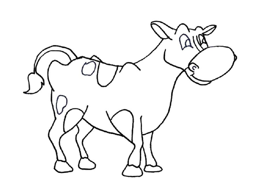 Раскраска Разукрашка Корова . Скачать Корова.  Распечатать Домашние животные