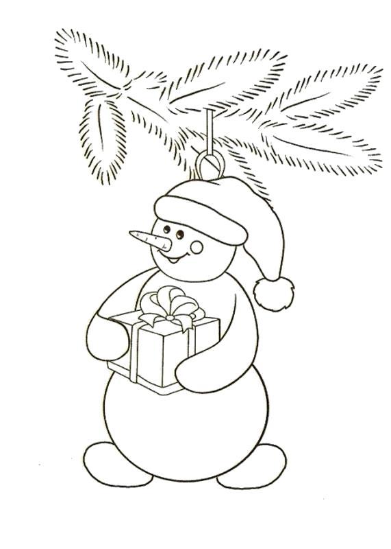 Раскраска Новогодние игрушки снеговик. Скачать новогодние.  Распечатать новогодние