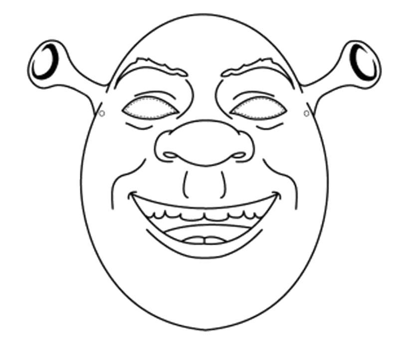 Раскраска маска шрека. Скачать маски.  Распечатать маски