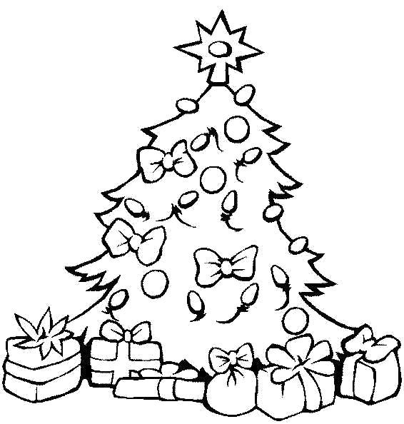 Раскраска Подарочки под елкой. Скачать Елка, Подарки.  Распечатать Новый год