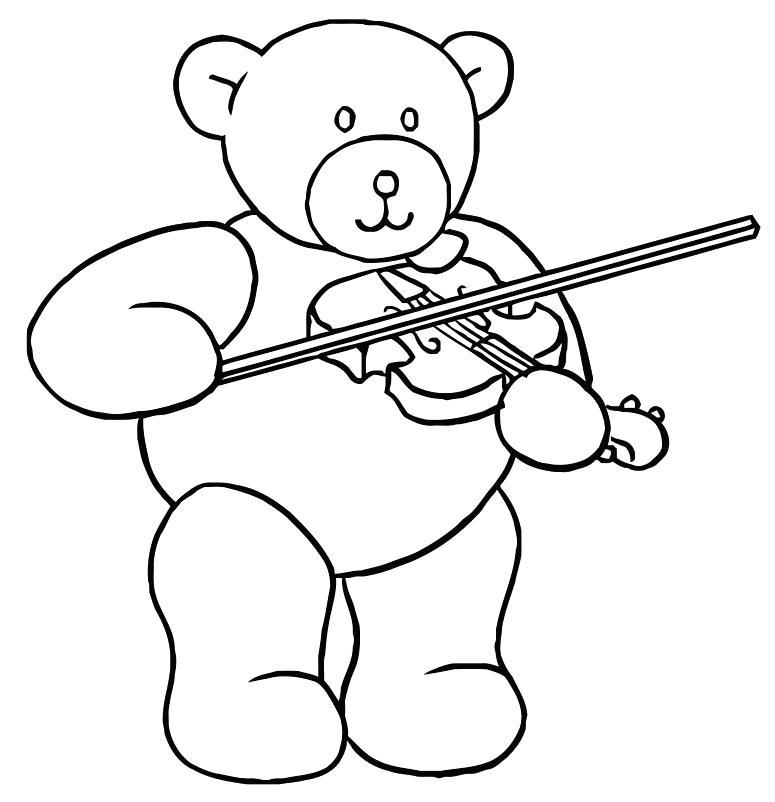 Раскраска Мишка играет. Скачать Скрипка.  Распечатать Скрипка
