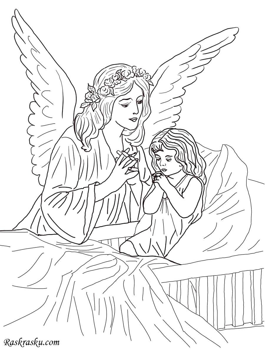 Раскраска Молитва ангелу. Скачать ангел.  Распечатать ангел