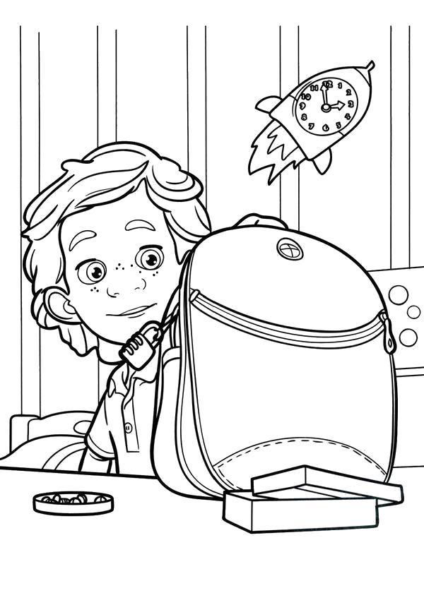 Раскраска фиксики, мальчик и портфель. Скачать .  Распечатать