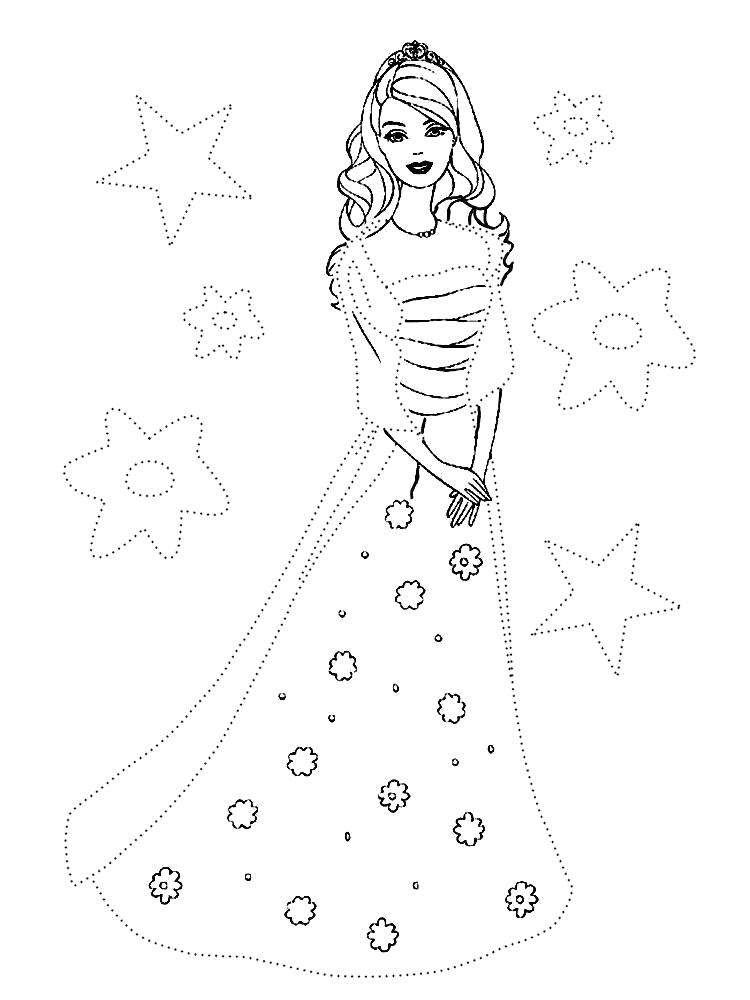 Раскраска Распечатать на принтере  Барби. Обведи по точкам и раскрась картинку с Барби в потрясающем бальном платье.. Скачать обведи по точкам.  Распечатать дорисуй по точкам