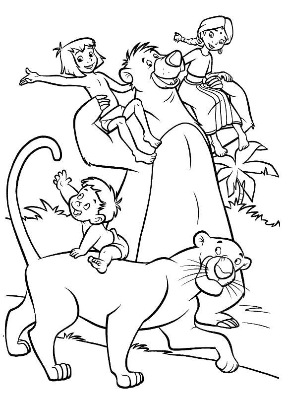 Раскраска Дети с балу и багирой. Скачать книга джунглей.  Распечатать книга джунглей